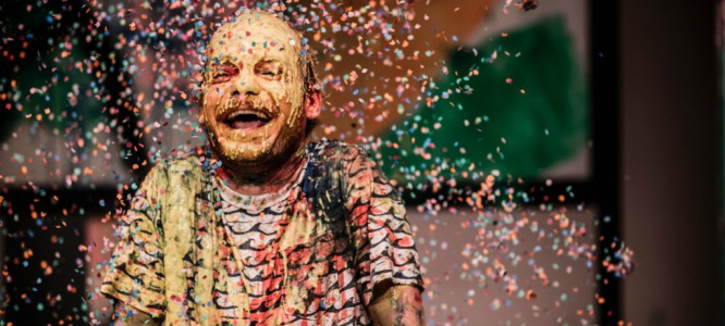 man in confetti