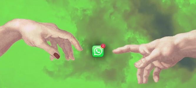 twee handen plus whatsapp icoon