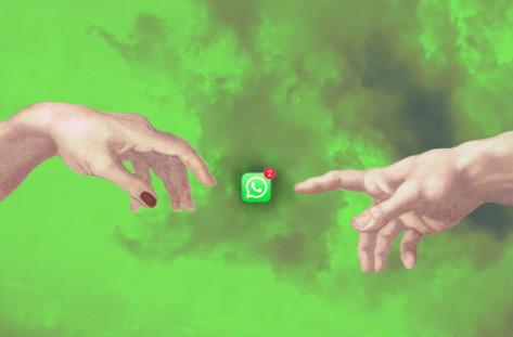 twee handen en whatsapp icoon